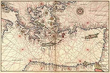 Portolan Or Navigational Map Of Greece The Mediterranean And The Levant Poster Print By Battista Agnese 24 X 36 Posters Prints