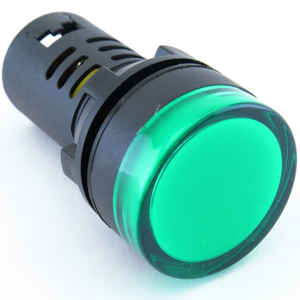 (10) YC-22G-3 YuCo CE Listed 22MM Compact Panel Mount Indicator Pilot Light LED Green 220V AC by Yuco (Image #6)