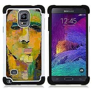"""Samsung Galaxy Note 4 IV / SM-N910 - 3 en 1 impreso colorido de Altas Prestaciones PC Funda chaqueta Negro cubierta gel silicona suave (Pintura de la cara del arte de la acuarela"""")"""