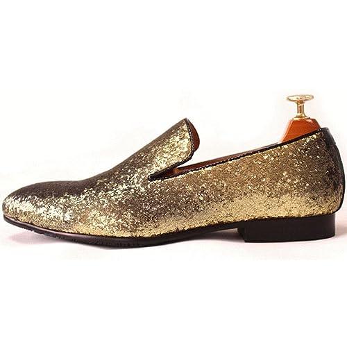 Zapatos mocasines de hombre de piel auténtica y textura metálica con purpurina: Amazon.es: Zapatos y complementos