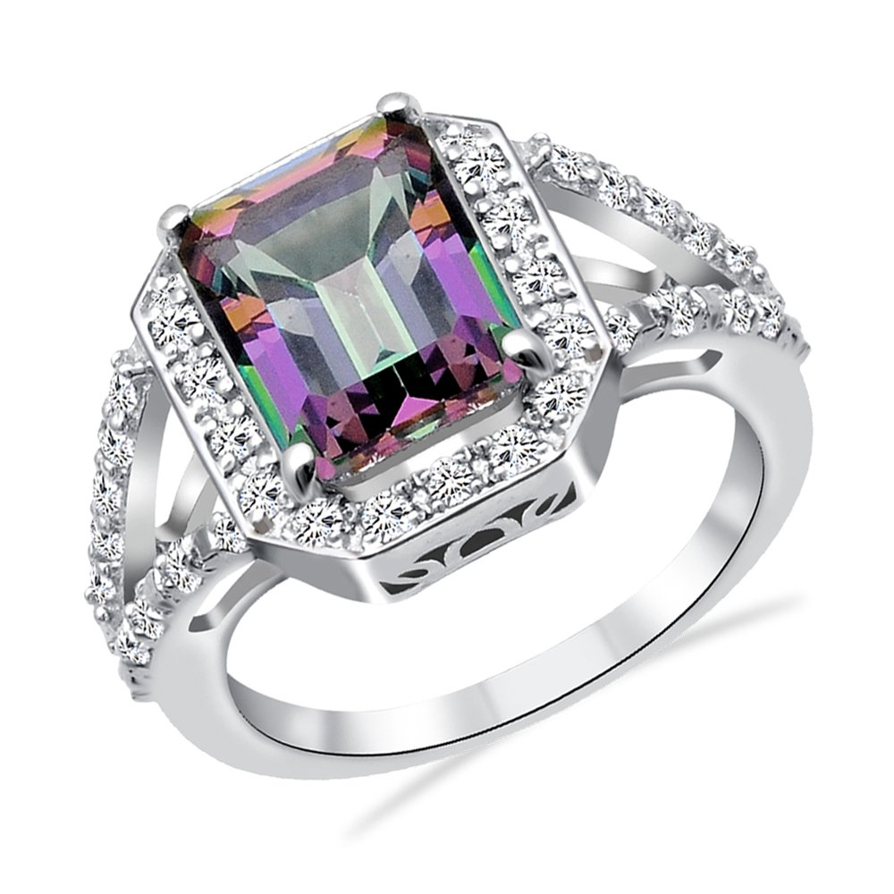 Orchid Jewelry Mystic Topaz & White Topaz 925 Sterling Silver Ring for  Women and Girls, Halo Engagement Ring, Perfect for Mother Day, Birthday,  Box