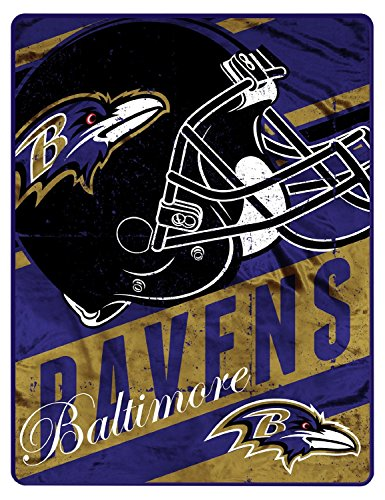 The Northwest Company Officially Licensed NFL Baltimore Ravens Micro Raschel Front & Sherpa Backing Foot Pocket Throw Blanket, 46