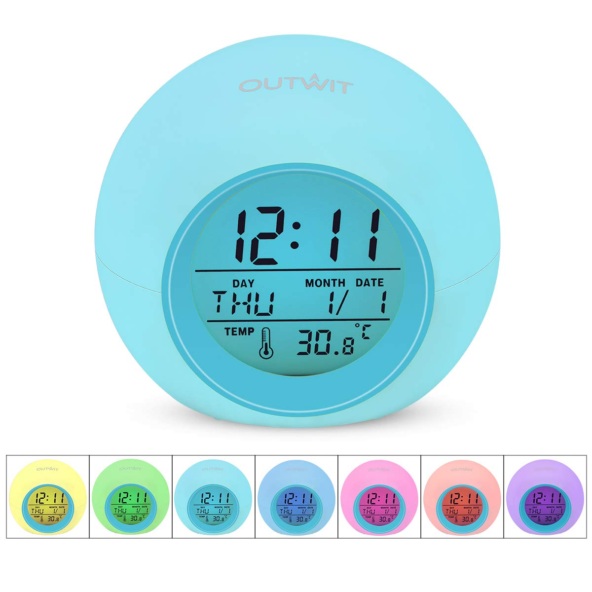 7 Farben /ändern Wecker OUTWIT Digital Kinderwecker batteriebetrieben mit Innentemperaturanzeige f/ür Kinder,Home,Office 8 Klingelt/öne,12//24 Stunden,One-Tap-Control Blau