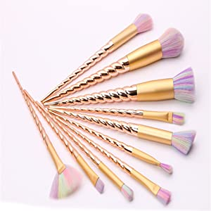 HENGSONG 10pcs Unicorn Make Up Brushes Set For Foundation Eyebrow Eyeliner Blush Cosmetic Concealer (Gold)