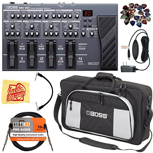 Boss ME-80 Multi-Effect Pedal Bundle with Carrying Bag, Power Supply, Instrument Cable, Patch Cable, 24 Picks, and Austin Bazaar Polishing Cloth