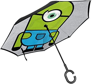 Double Layer Inside Out Folding Umbrella Reverse Inverted Windproof Cartoon Frog Animal Umbrella Upside Down Umbrellas with C-Shaped Handle for Women and Men