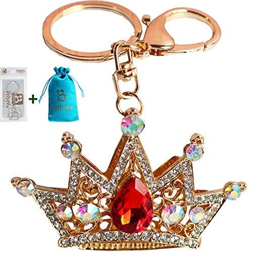 - Bolbove Shiny Queen Crown Keychain Crystal Blingbling Keyring Rhinestones Purse Pendant Handbag Charm (Red)