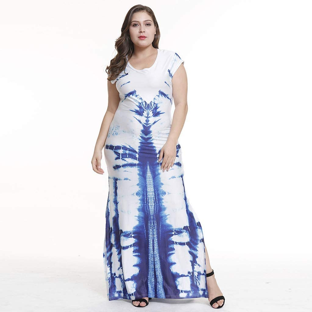 Blue,XXXL Hawaiian Dresses For Girls Womens Casual O-neck Short-Sleeved Printed Stitching Split Skirt Long Dress For Anniversary,Party,Valentines Day