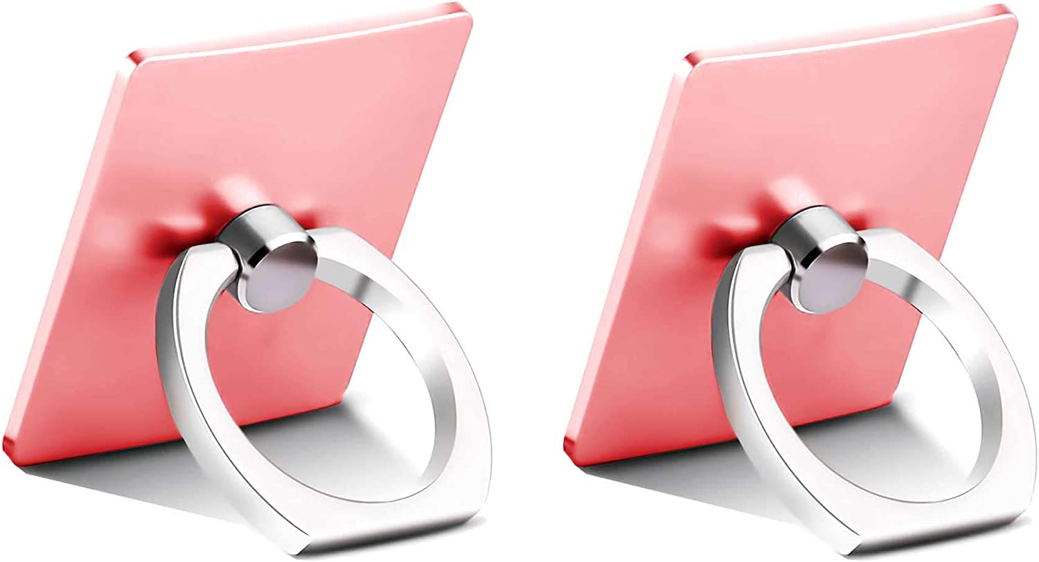 [2Pack] Finger Grip Stand Holder Ring Phone Ring Stand Grip for iPhone 11,PRO MAX 8 7 6 6s Plus Tablet PC Smartphone Phone Ring Cell Phone Ring Holder,360 Rotation (Rosegold)