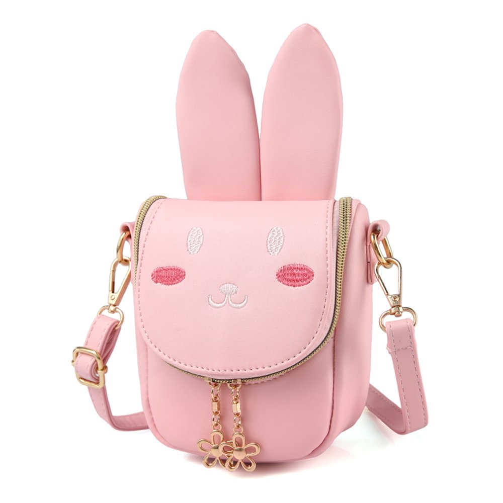 Pinky Family Super Cute Girls Purse Bunny Ear Shoulder Bag Messenger Bag Girls Gifts (pattern 1 pink)