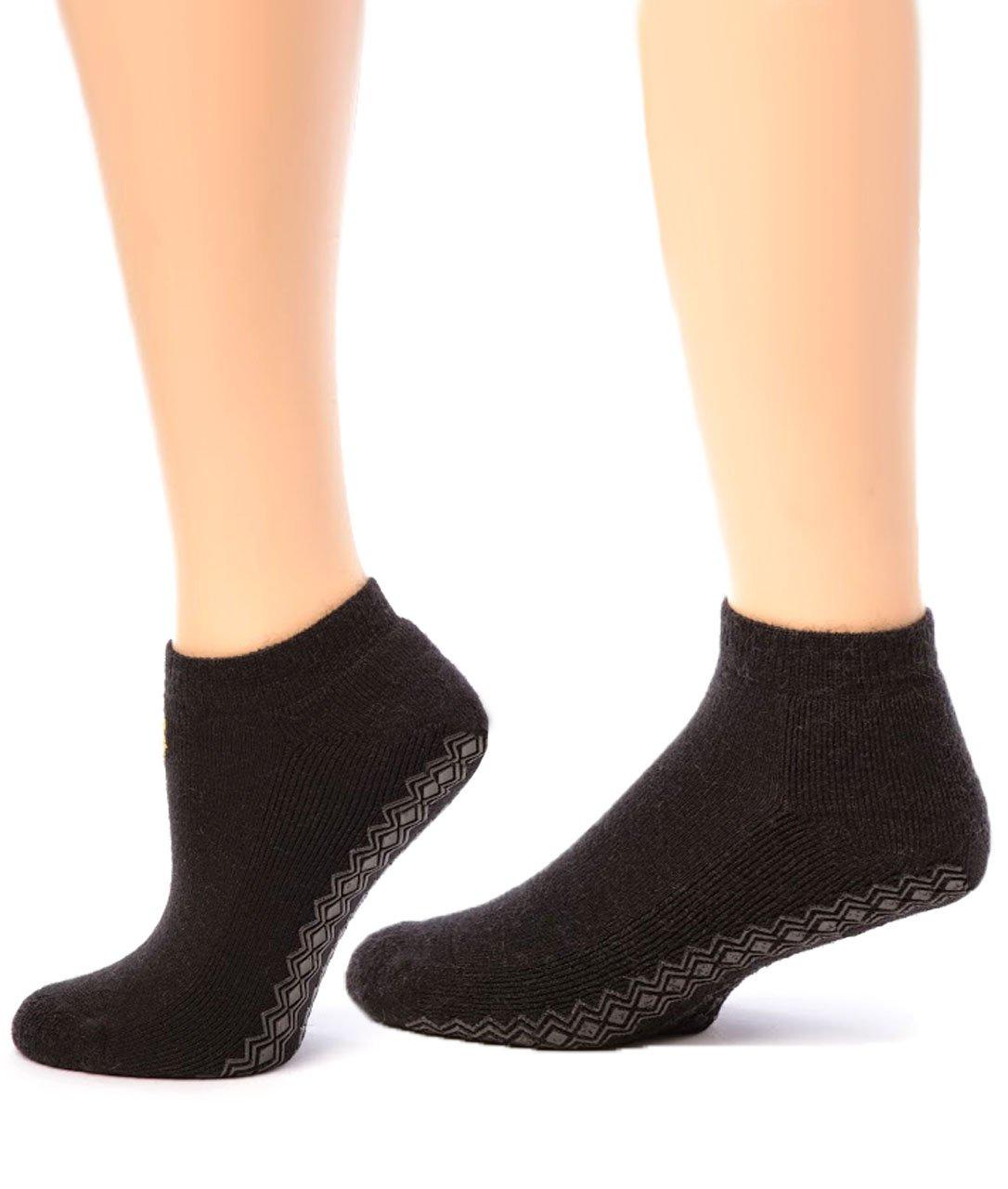 Warrior Alpaca Socks - Boy's Non-Slip Mini Crew Sock Black L