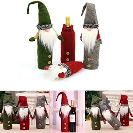 Xinlie Coperchio per Bottiglia di Vino di Natale Abito Coperchio Topper per Bottiglia di Vino di Natale Borsa per Vino da Inaugurazione della Casa per Decorazioni per Le Feste di Natale 2 Pezzi