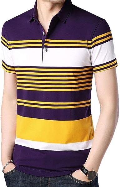 Lanceyy Camisa De Polo para De Manga Corta Hombre Simple Estilo Camisas Informales Camisas De Polo De Abanico De Béisbol Camisa De Polo De Solapa A Rayas Casual De Verano: Amazon.es: Ropa