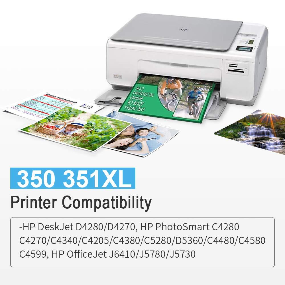 Gmoher Cartucho de Tinta Remanufacturado para HP 350 Cartuchos de Tinta 350 Compatible con HP Photosmart C4480 C4380 C5280 C4580 C4580 C4500 C4485 ...