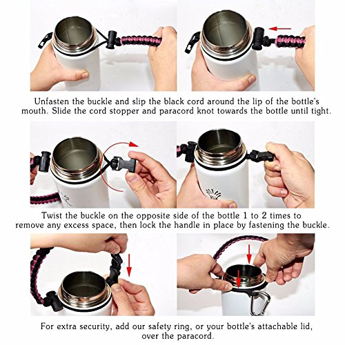 Paracord Handle with Carabiner,Sports Bottle Strap for Hydro Flask Wide Mouth,Inculde Survival Buckle with Knife,Compass,Fire Starter,Whistle (Pink/black-3pcs set) by Evursua (Image #7)