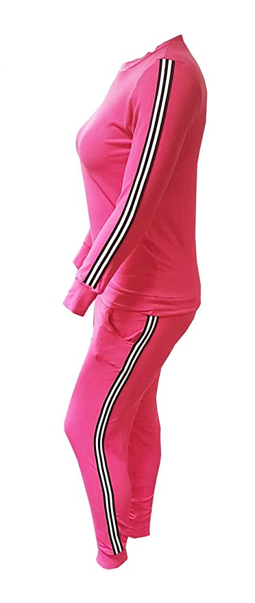 a554ccd7fada4 Top Fashion Womens Plus Size Knitted Striped Bottoms Long Sleeve Ladies  Lounge 2 Piece Suit Jogging Suit 14-28  Amazon.co.uk  Clothing