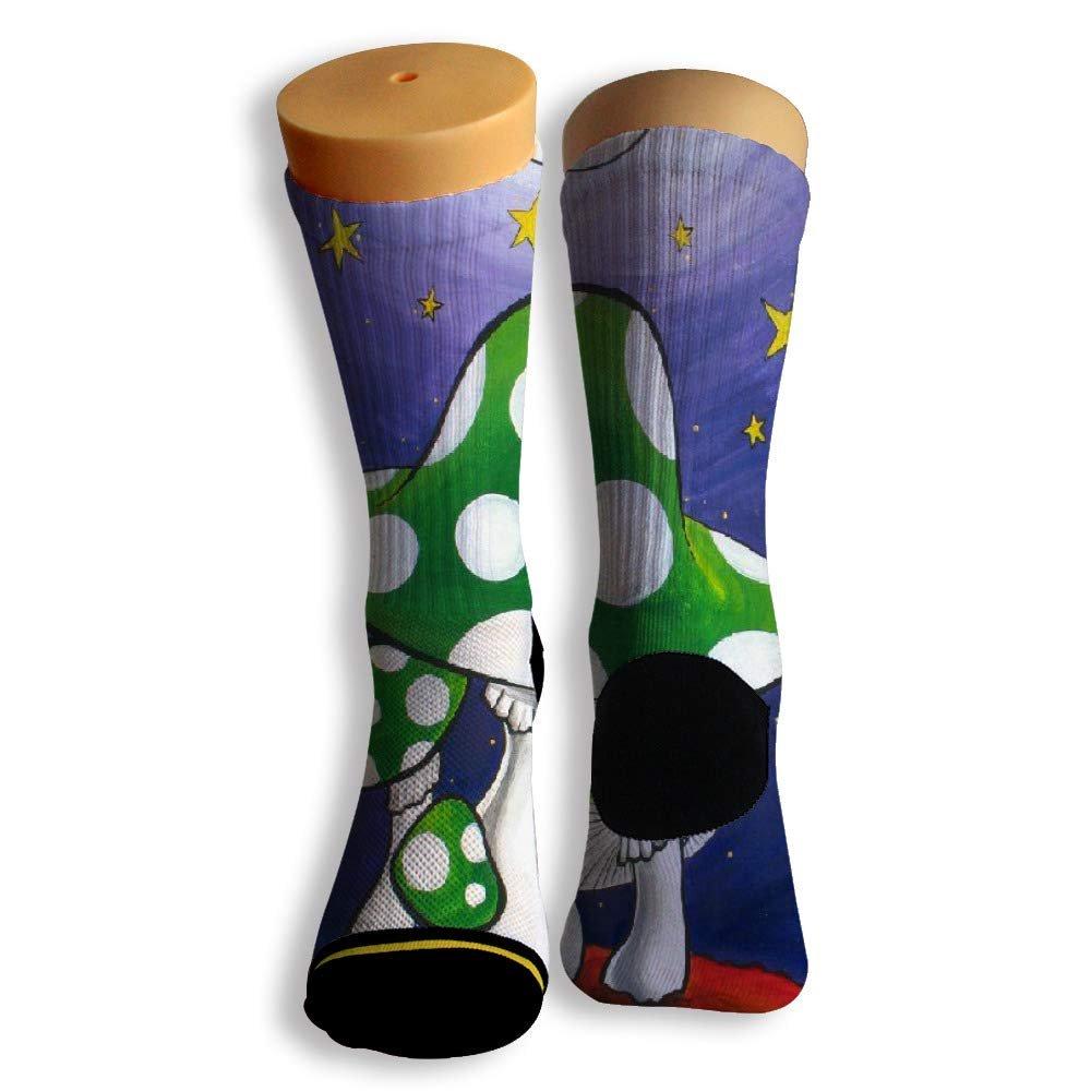 Basketball Soccer Baseball Socks by Potooy Green Mushroom Under Moon 3D Print Cushion Athletic Crew Socks for Men Women