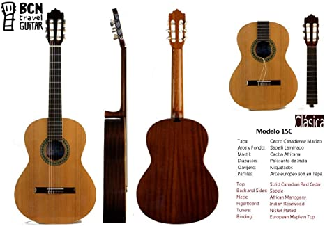BCN Travel Guitar 15C Guitarra Clasica española desmontable para ...