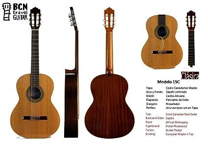 BCN Travel Guitar 15C Guitarra Clasica española desmontable para viaje