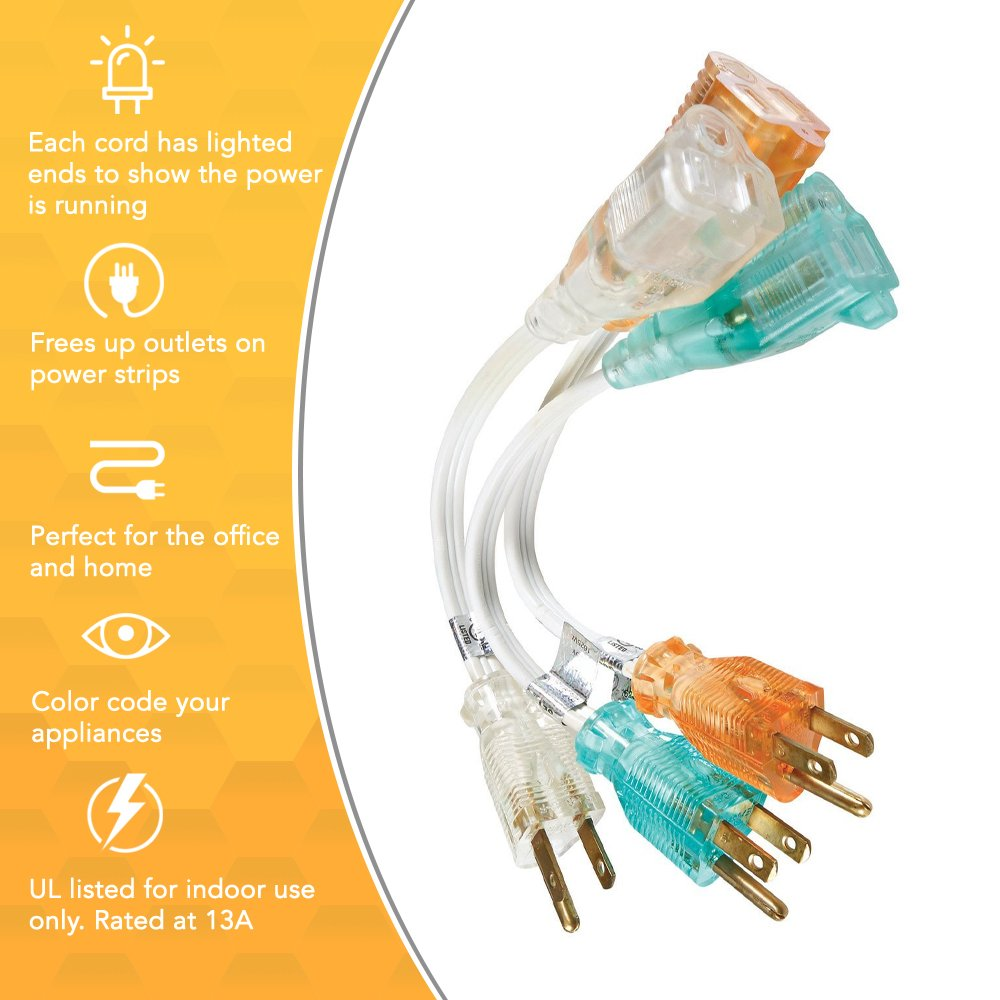 Coleman Cable 6991 Power Strip Liberator 8 Inch Extension Cord 3 Home Electrical Wiring Color Codes Pack Short