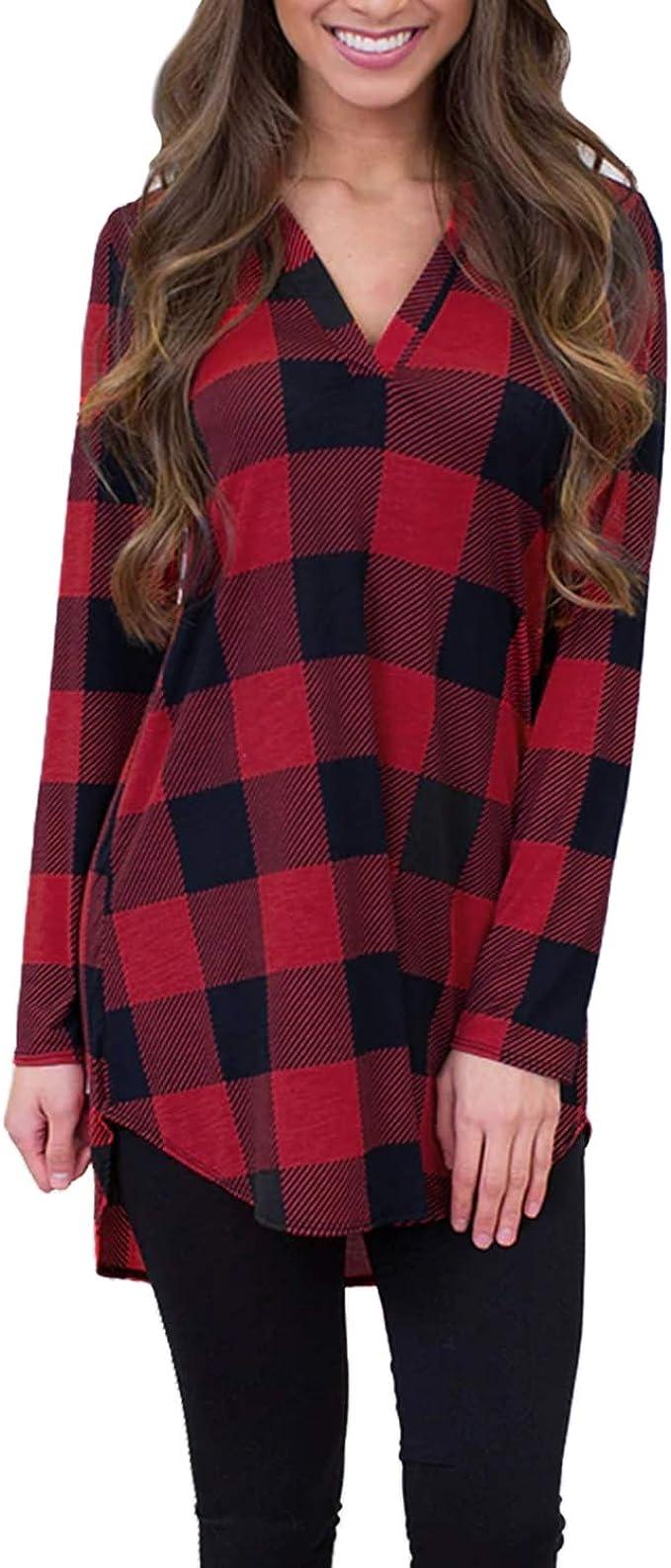 ACHIOOWA Blusa de Mujer Camisa a Cuadros Tops Camisa Casual de Manga Larga Otoño Nuevo Retro Chic Negra roja 2XL: Amazon.es: Ropa y accesorios