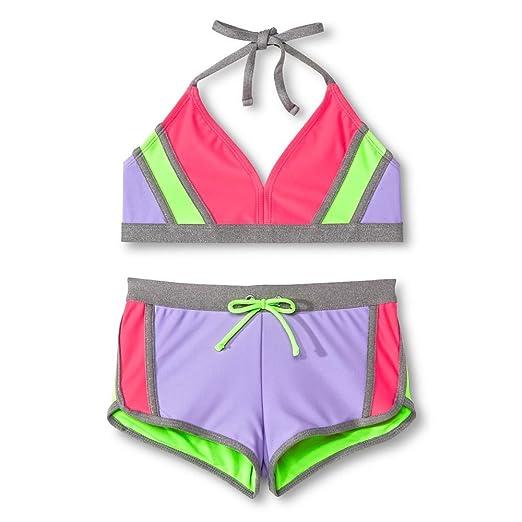 1d8d794dd70c Circo Girl's 2 Piece Purple Pink Neon Grey Bikini Top and Swim Shorts Set (X