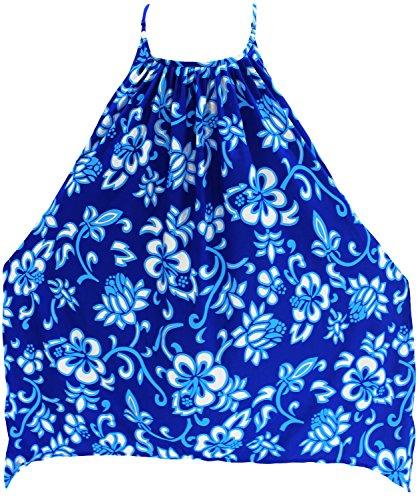 La Leela traje de baño bikini traje de baño de las mujeres ropa de playa cubre para arriba la blusa del vestido del kimono del bikini Bleu