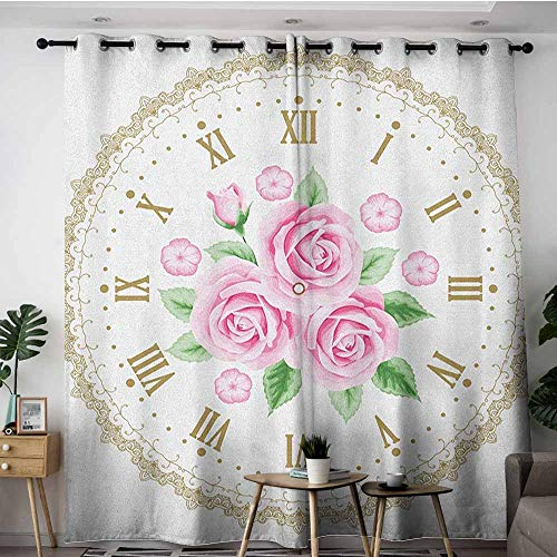 AGONIU Curtains for Living Room,Shabby Chic Vintage Clock Face Roses Roman Numbers Antique Vintage Style,Grommet Curtains for Bedroom,W84x84L Pale Pink Green Dark ()