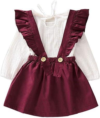 Toddler Baby Girls Outfits Ruffled T-Shirt Tops+Suspender Skirt Dress 3PCS Set