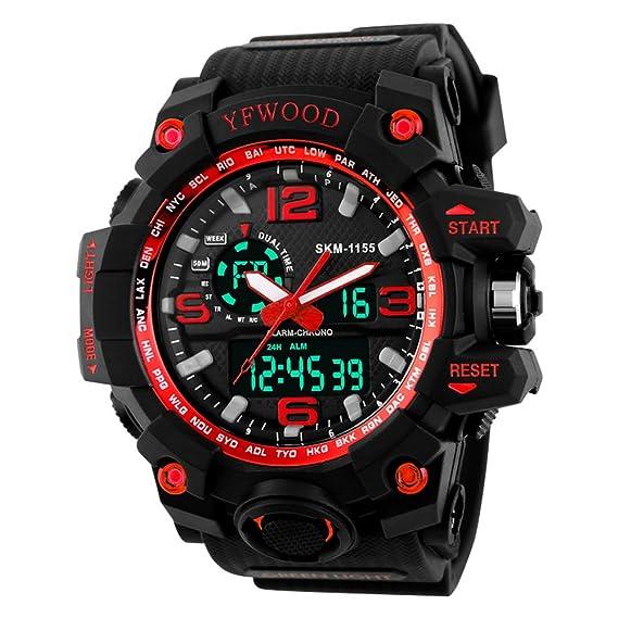 Reloj de pulsera de cuarzo, analógico y digital, resistente al agua y a los golpes