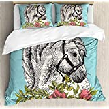 Lightweight Microfiber Duvet Cover Set with Zipper Closure Floral Boho Style Horse Opium Blossoms Poppy Wreath Equestrian Illustration Printed Bedding Collection Turquoise Apple Green, Queen