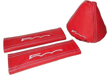 Palanca de cambios y fundas cintur/ón negro piel rojo Fr bordado