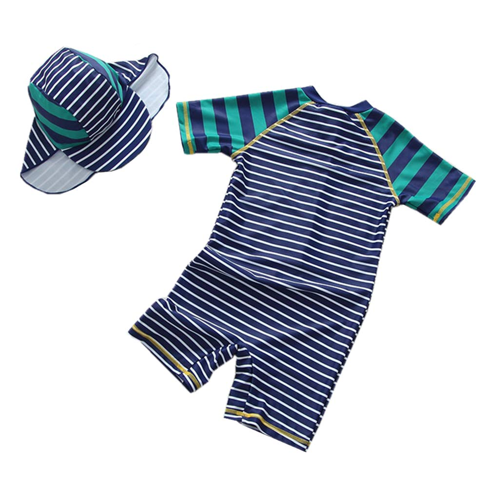 Baby Boy Swimsuit Toddler One Piece Swimwear Kid Stripe Rash Guard Sun Protection Sunsuit Zip with Hat 1-6t