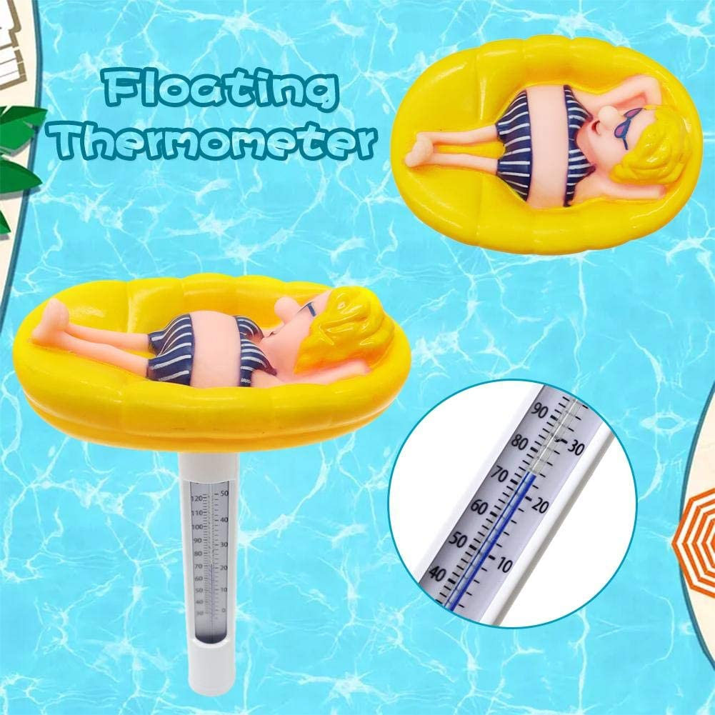 Spas,Pond Funny Floating Pool Thermometer Cute-Shaped Thermometer,Swimming Pool Decoration Temperature Testing Accessories for Outdoor and Indoor Swimming Pools
