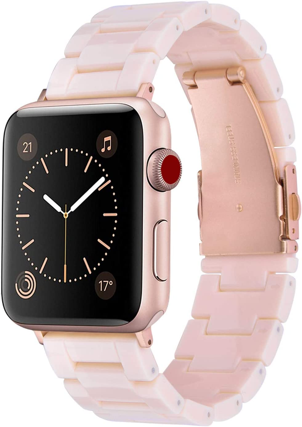 V-MORO Resin Bands Compatible with Apple Watch Band 42mm 44mm Women iWatch Series 4/3/2/1 with Stainless Steel Metal Buckle Replacement Lightweight Wristband - Light Pink