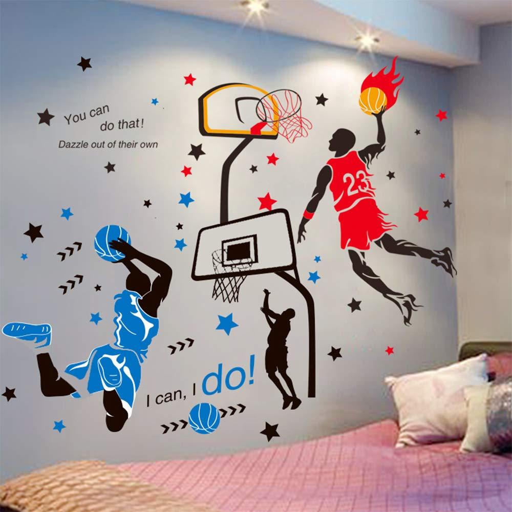 Runtoo Sports Wall Decals Kids Wall Stickers Soccer Baseball Football Hockey Basketball Boys Room Playroom Game Room Nursery Wall D/écor