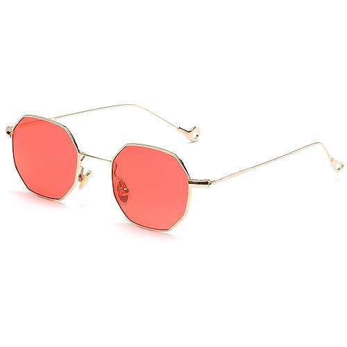 Fashion Blue Yellow Red Tinted Sunglasses Women Small Frame Polygon 2017 Brand Design Vintage Sun Gl...