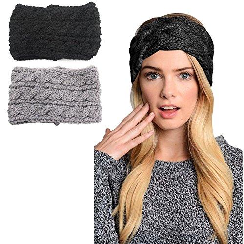 2 pack Womens Winter Knit Headband & Hairband Headwrap Hat Cap Ear Warmer, Black+gray,One Size