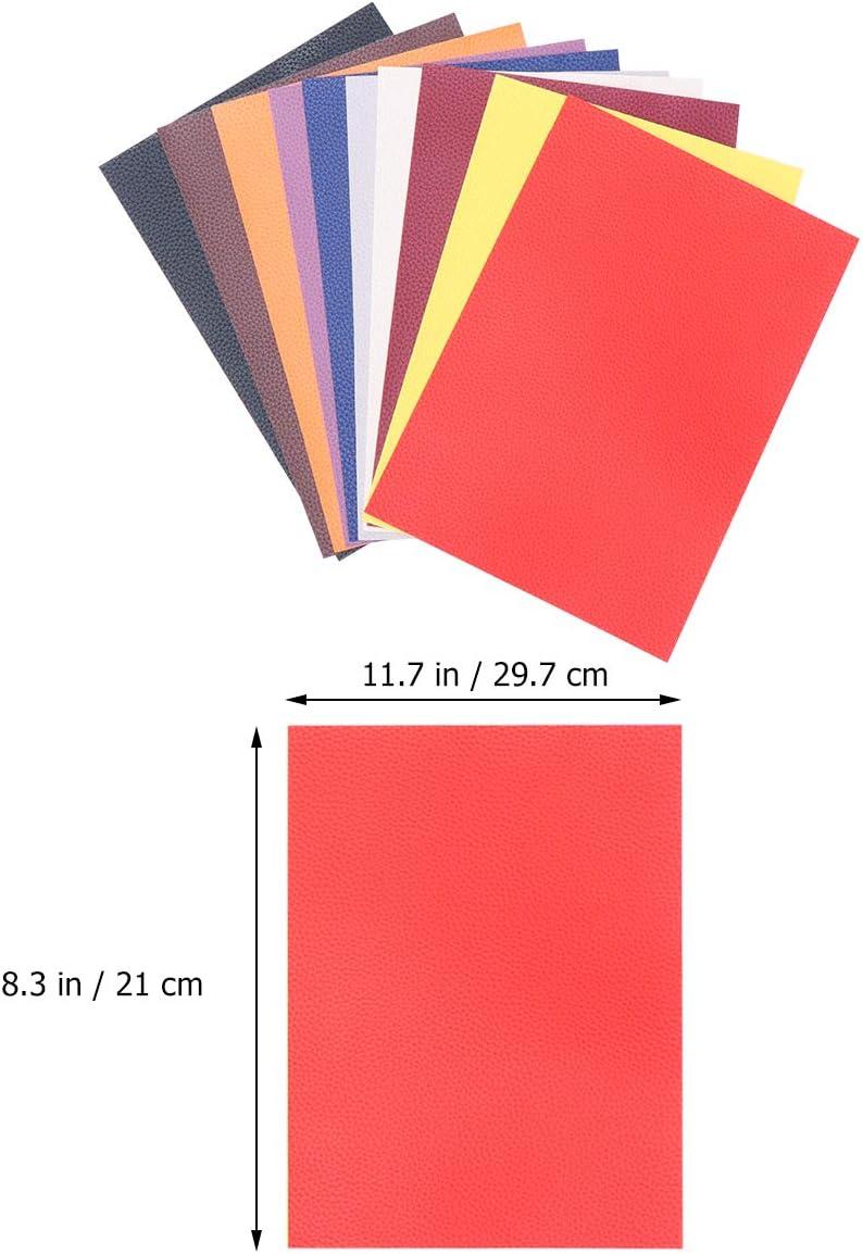 SUPVOX 10 Unidades Parche de Reparacion de Cuero Parche De Piel A4 para Monedero Costura Manualidades 10 Colores