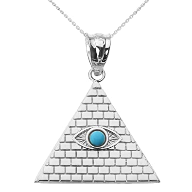 Amazon fine 14k white gold egyptian pyramid charm with evil eye fine 14k white gold egyptian pyramid charm with evil eye pendant necklace 16quot aloadofball Image collections