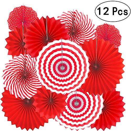 Red Party Hanging Paper Fans Decorations - Barbecue Birthday Party Holidays Picnic Circus Carnival New Years Wedding Party Photo Booth Backdrops Decorations, 12pc