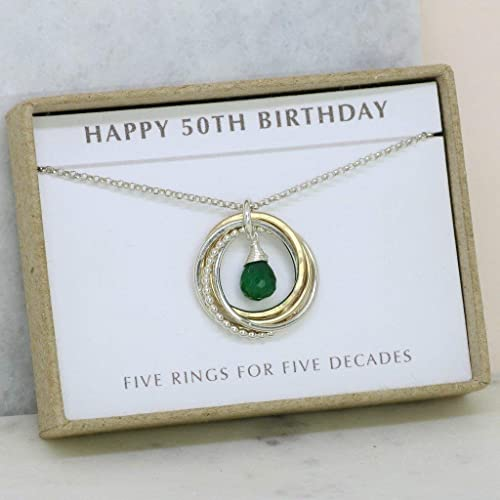 Amazon 50th Birthday Gift For Sister Emerald Necklace Her May Birthstone Jewelry Mom