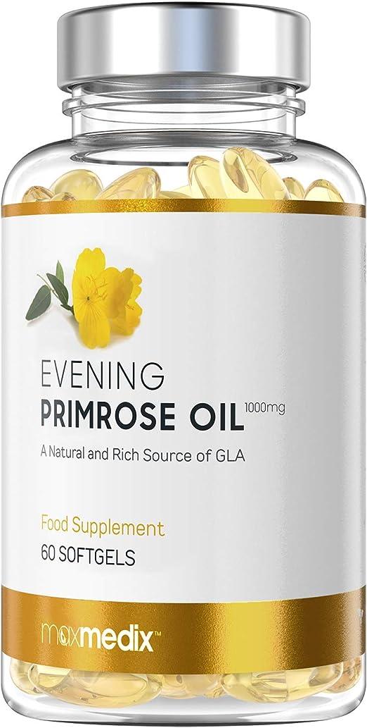 Aceite de Onagra 1000 mg - Suplemento Natural Para la Menopausia y el Equilibrio Hormonal, Rico en vitamina E y Omega 6, Para los Sofocos, Sudoración, Dolor de Cabeza y Dolor Premenstrual,