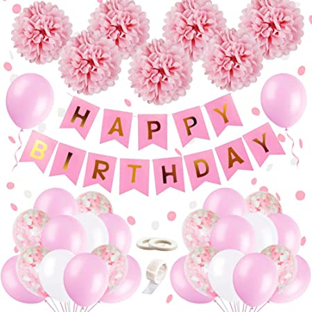 Birthday Decorations Girls, Happy Birthday Bunting Banner Balloons Set with  Tissue Paper Pompoms and Pink Balloons for Girl Girlfriend Daughter Women