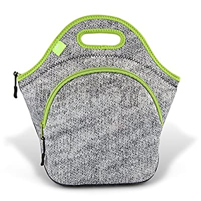 Nordic By Nature Large Neoprene Lunch Bag for Women & Lunch Tote for Kids Insulated Lunch Bag Reusable Washable Thick Neoprene & Soft Cotton Feel, Premium Stitching, Outside Pocket, (L) Gray Melange: Kitchen & Dining