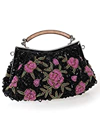 BMC Womens Tiny Bead Encrusted Pink Flower Design Clutch Evening Bag