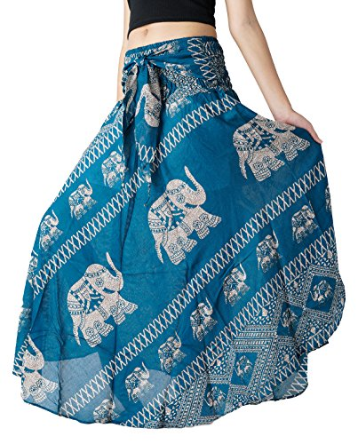 [Bangkokpants Women's Long Bohemian Hippie Skirt Elephant US Size 0-12 (Green)] (Hippie Dress)