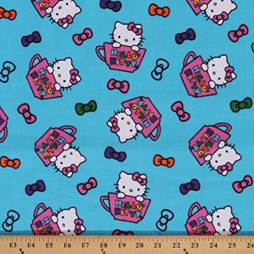 Flannel Hello Kitty Teacup Toss Bows Teal Blue Cat Cotton Flannel Fabric Print (PO326101)