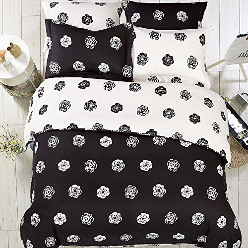 NTBAY Minimalism Series Hotel Quality 5 Pieces Black and White Reversible Fashionable and Simple Geometric Pattern Printed Microfiber Duvet Cover Set, Soft & Breathable (Queen, Flower) (Simple Flowers Set)