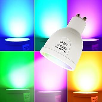 Juneo 5 Watt Dimmbar GU10 RGB LED Leuchtmittel, 16 Farben RGB Farbwechsel  LED